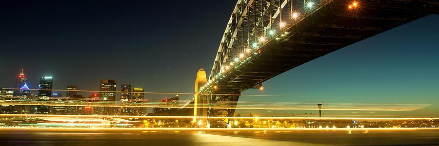 Australia Photograph - Panoramic Photo Of Sydney Harbour Bridge Night Scenery by Yew Kwang