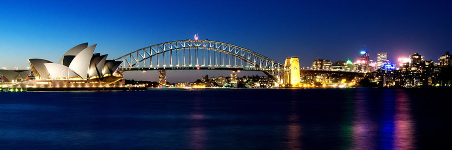 Australia Photograph - Panoramic Photo Of Sydney Night Scenery by Yew Kwang