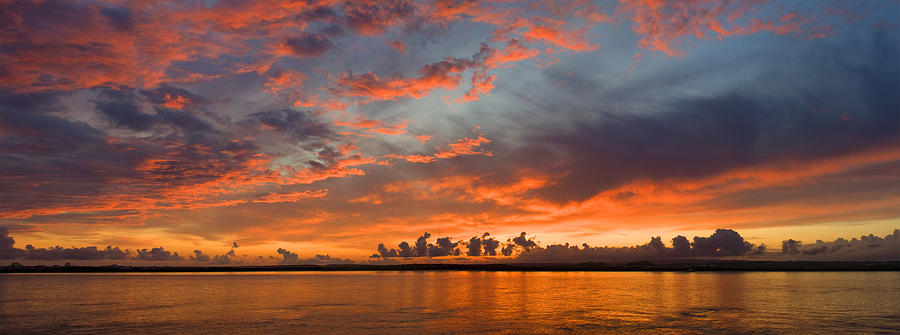 panoramic sunset in the Guadiana river Photograph