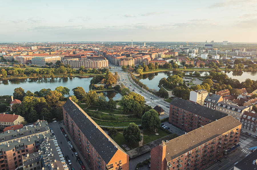 Panoramic view from center of Copenhagen toward Amager, Denmark Photograph by Brzozowska