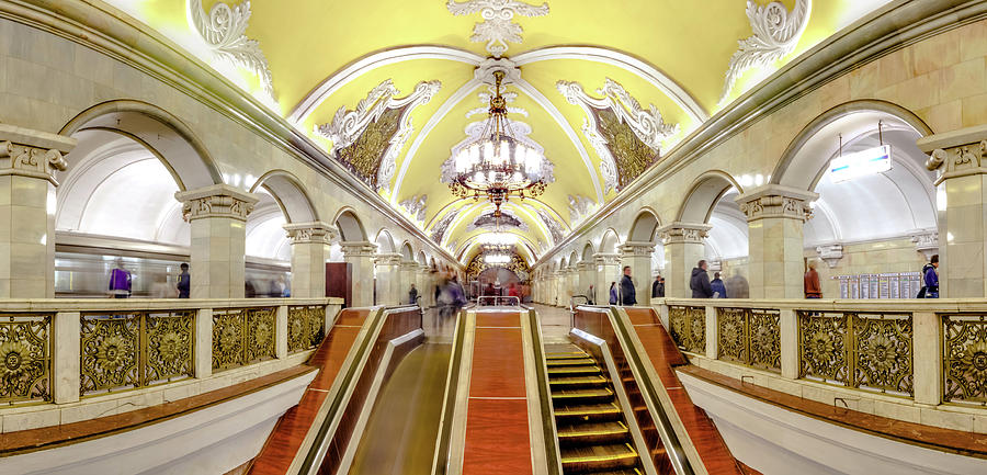 Panoramic View - Moscow Metro Escalator Photograph by Mordolff