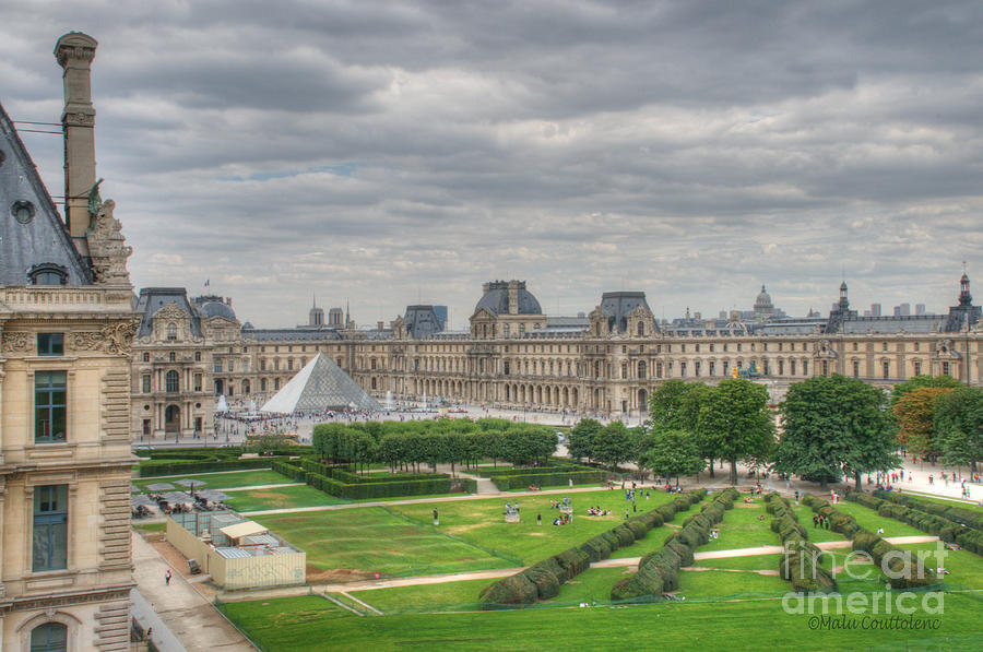 Paris Photograph - Panoramic View Musee Du Louvre by Malu Couttolenc