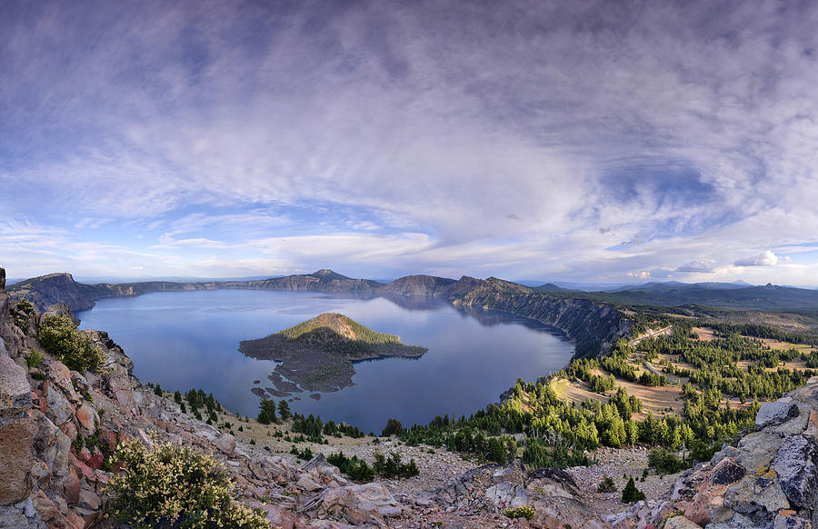 Aerial Photograph - Panoramic View Of Crater Lake And Wizard Island by Sebastien Coursol