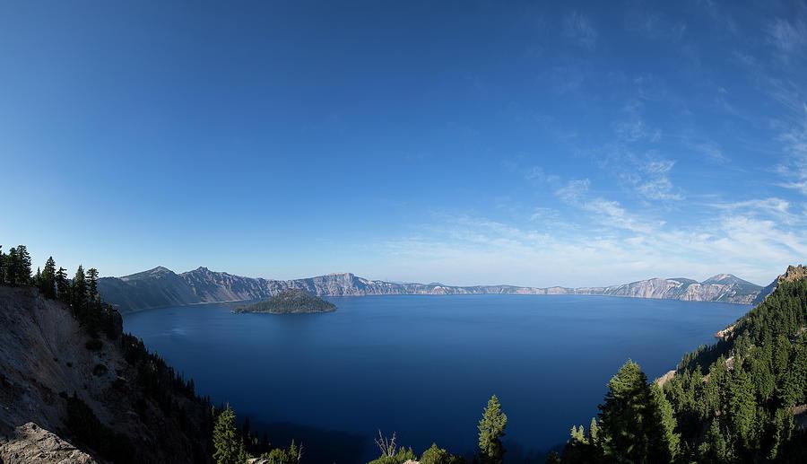 Panoramic View Of Crater Lake Photograph by Jordan Siemens