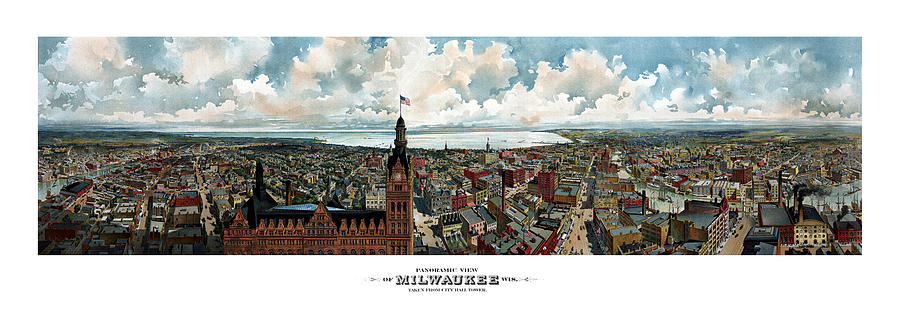 Milwaukee Painting - Panoramic View Of Milwaukee Wisconsin by War Is Hell Store