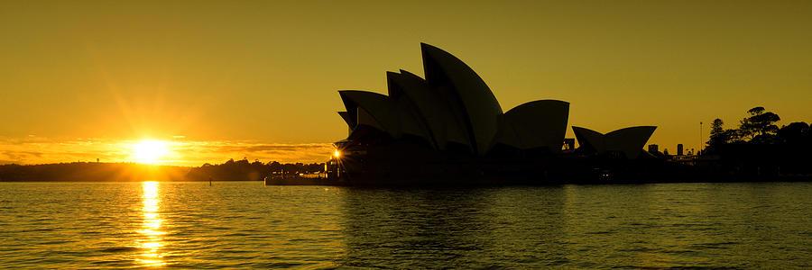 Australia Photograph - Panoramic View Of Sunrise At Sydney Opera House by Yew Kwang
