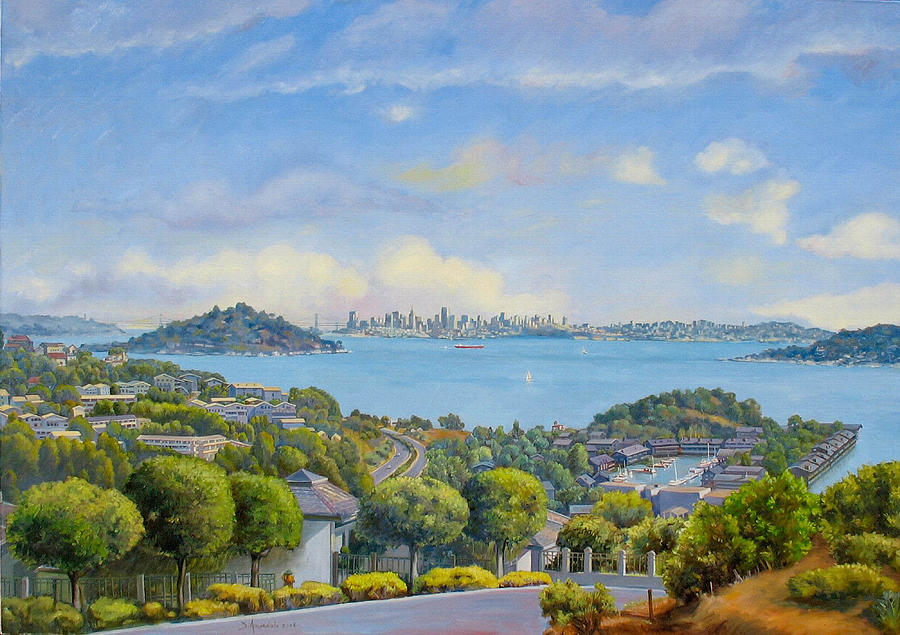 California Painting - Panoramic View Of Tiburon- large by Dominique Amendola