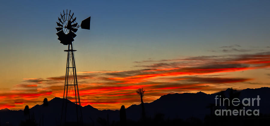 panoramic windmill silhouette photograph by robert bales