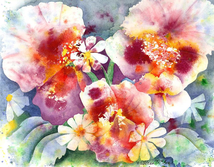 Pansies Painting - Pansies And Daisies by Kathleen McGee