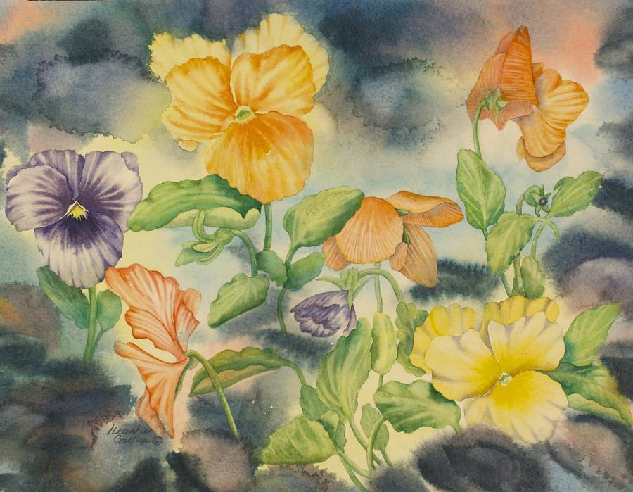Pansies Painting - Pansies by Heather Gallup