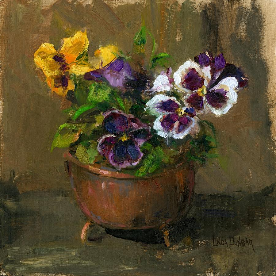 Pansies In Copper Pot Painting By Linda Dunbar