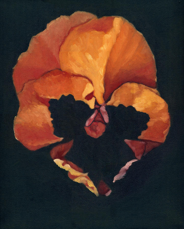 Amber Painting - Pansy No.6 by Katherine Miller