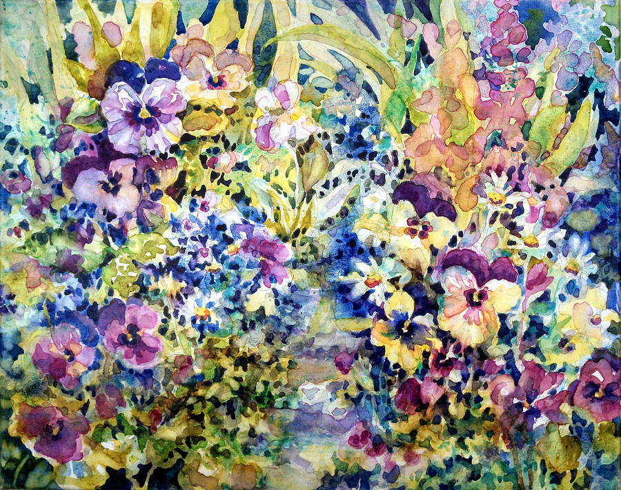 Daisies Painting - Pansy Path by Ann  Nicholson