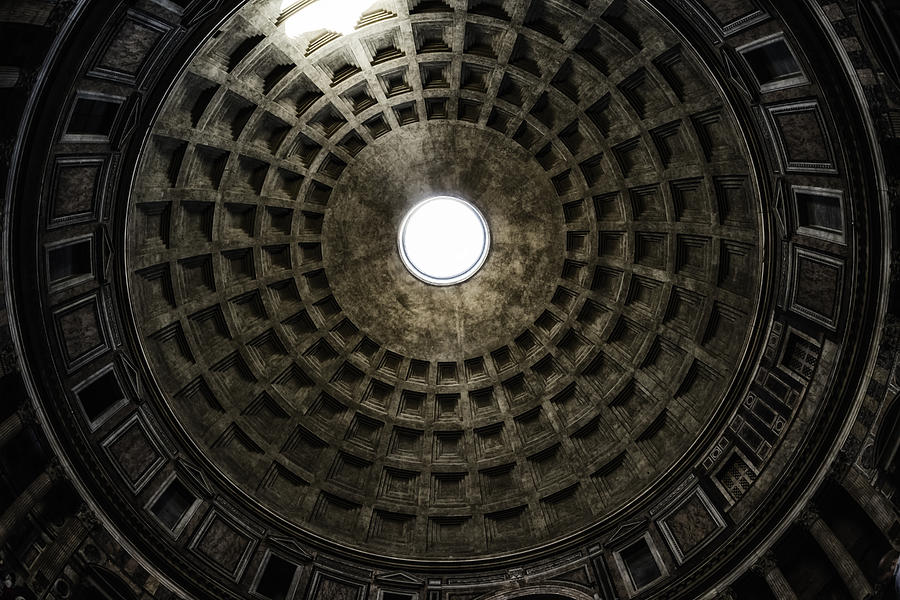 Ancient Photograph - Pantheon Oculus by Joan Carroll