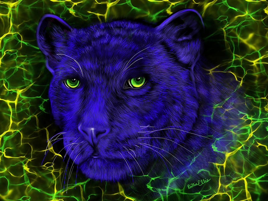 Panther Digital Art - Panther Blues Electric by Billie Jo Ellis