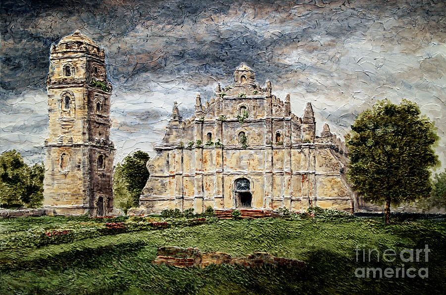 Ilocos Painting - Paoay Church by Joey Agbayani