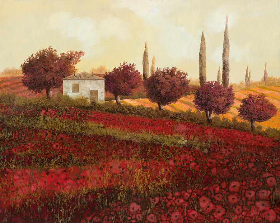 Tuscany Painting - Papaveri In Toscana by Guido Borelli