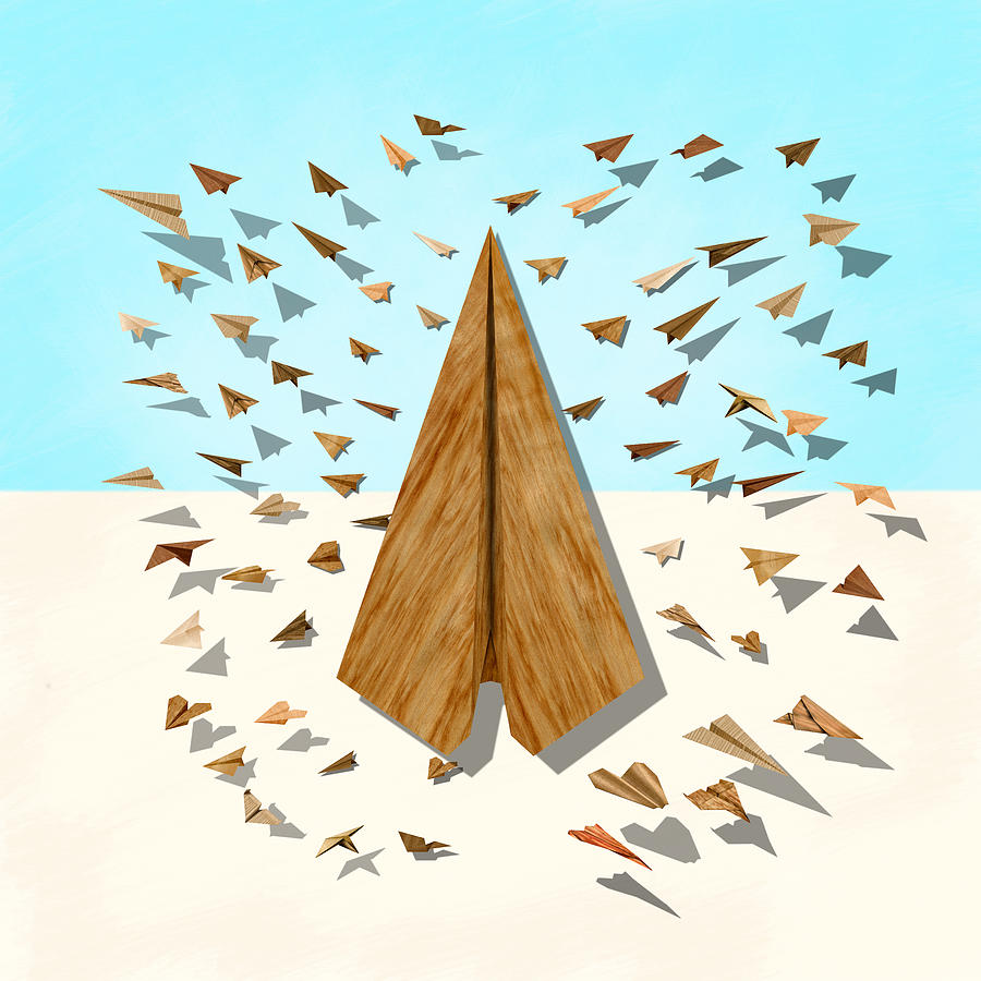 Aircraft Digital Art - Paper Airplanes Of Wood 10 by YoPedro