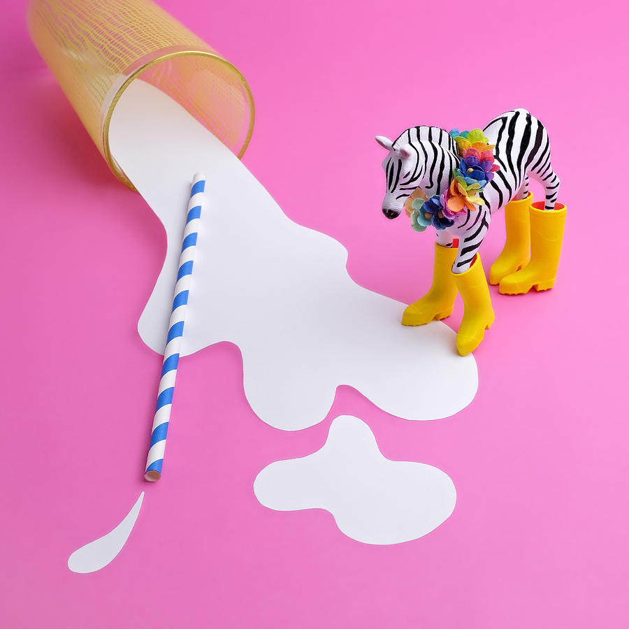 Paper Craft Glass Of Spilled Milk With Photograph by Juj Winn