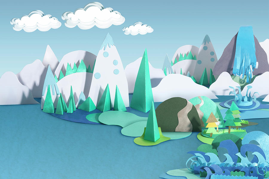 Paper Craft Mountains And Sea Landscape Photograph by Paper Boat Creative