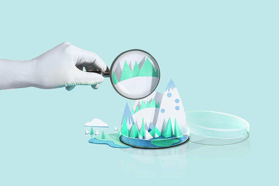 Paper Craft Snow Mountains With Photograph by Paper Boat Creative