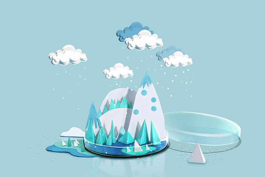Paper Craft Winter Weather Over Icey Photograph by Paper Boat Creative
