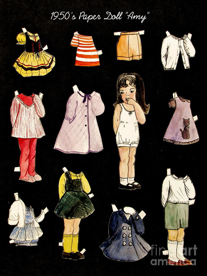 Paper Doll Painting - Paper Doll Amy by Marilyn Smith
