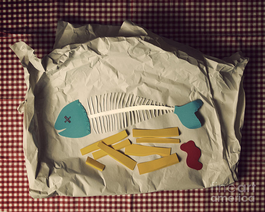 Paper Cutting Photograph - Paper Fish And Chips by Catherine MacBride