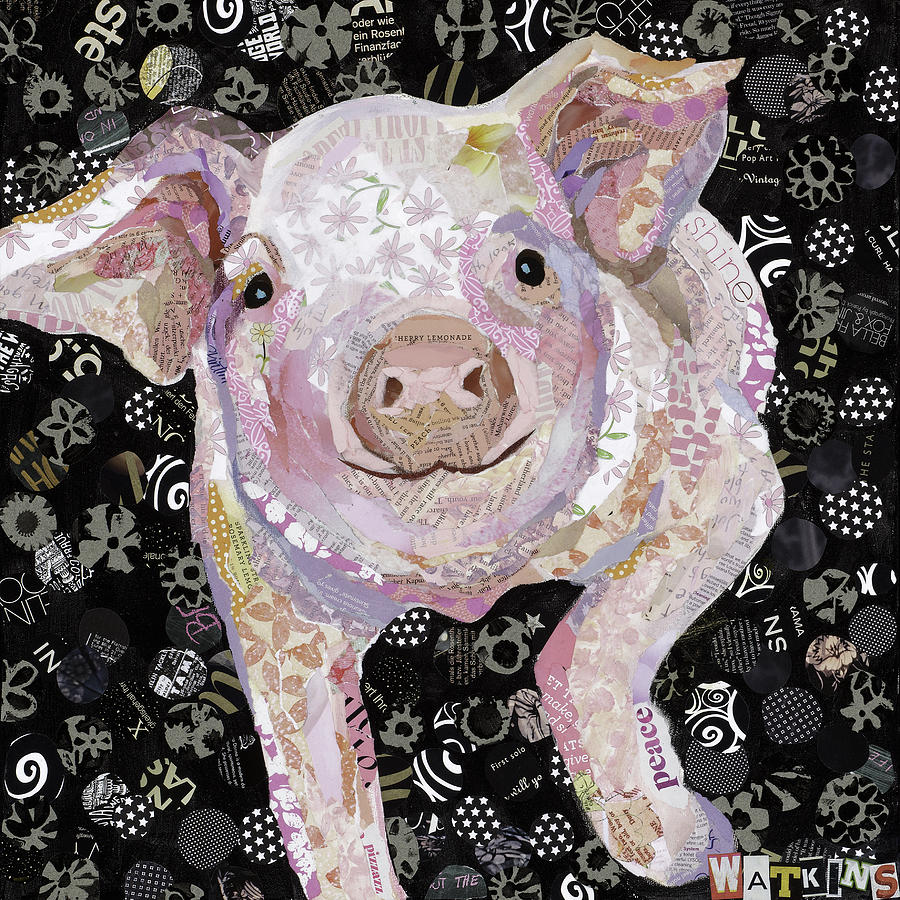 Pig Painting - Paper Pig by Beth Watkins