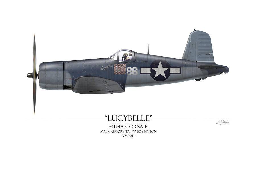 Aviation Painting - Pappy Boyington F4u Corsair - White Background by Craig Tinder