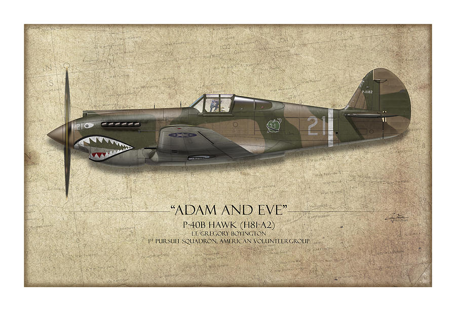 Aviation Painting - Pappy Boyington P-40 Warhawk - Map Background by Craig Tinder