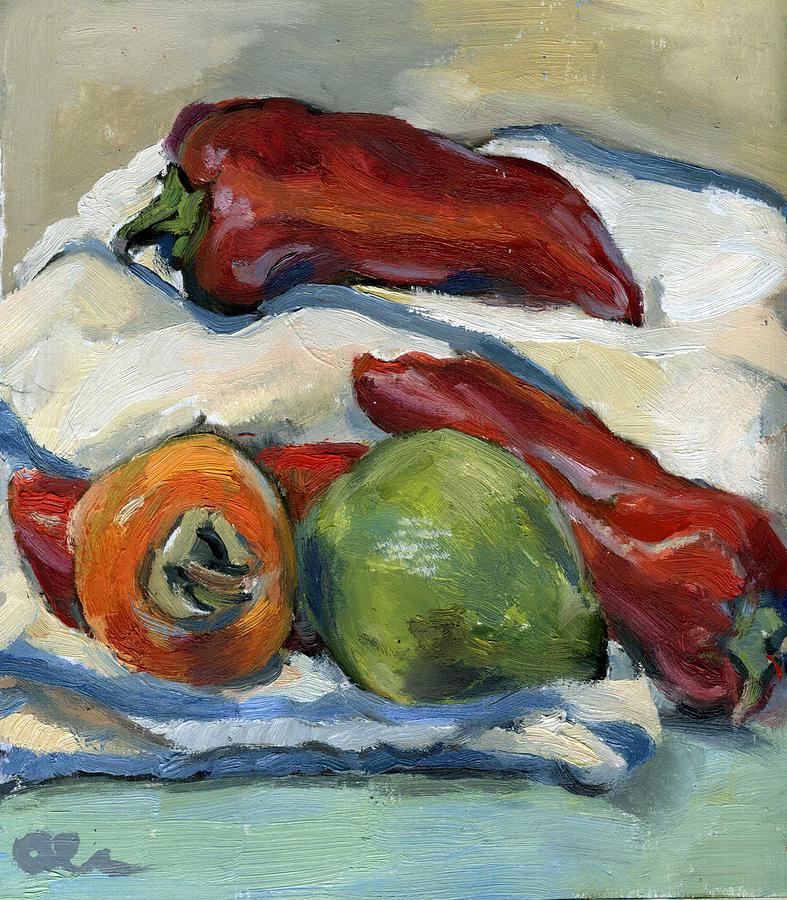 Vegetables Painting - Paprika And Fruits by Lelia Sorokina