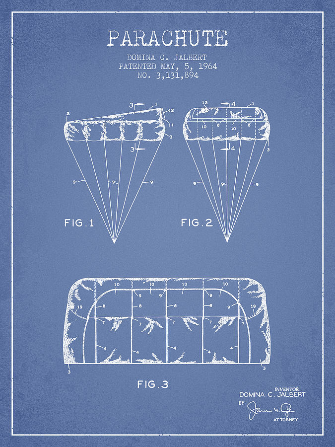 Parachute Digital Art - Parachute Design Patent From 1964 - Light Blue by Aged Pixel