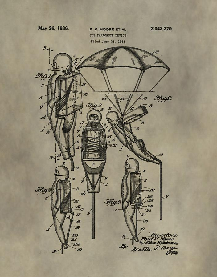 Toy Digital Art - Parachute Toy Patent by Dan Sproul
