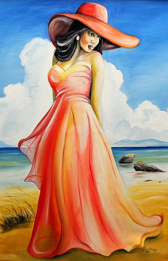 Sundress Painting - Paradise In Orange by Henry Blackmon