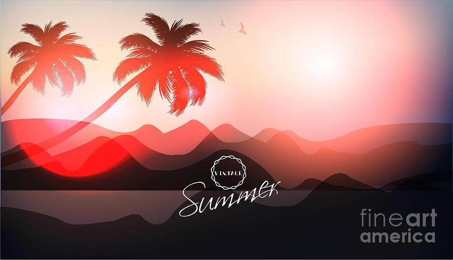 Sunrise Digital Art - Paradise Island-palm Tree Sunset by Alessandram