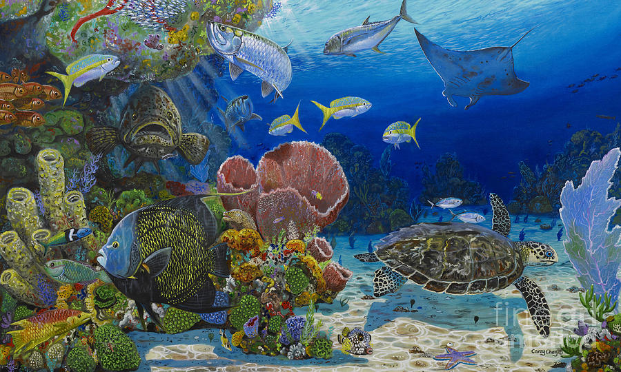 Turtle Painting - Paradise Re0012 by Carey Chen