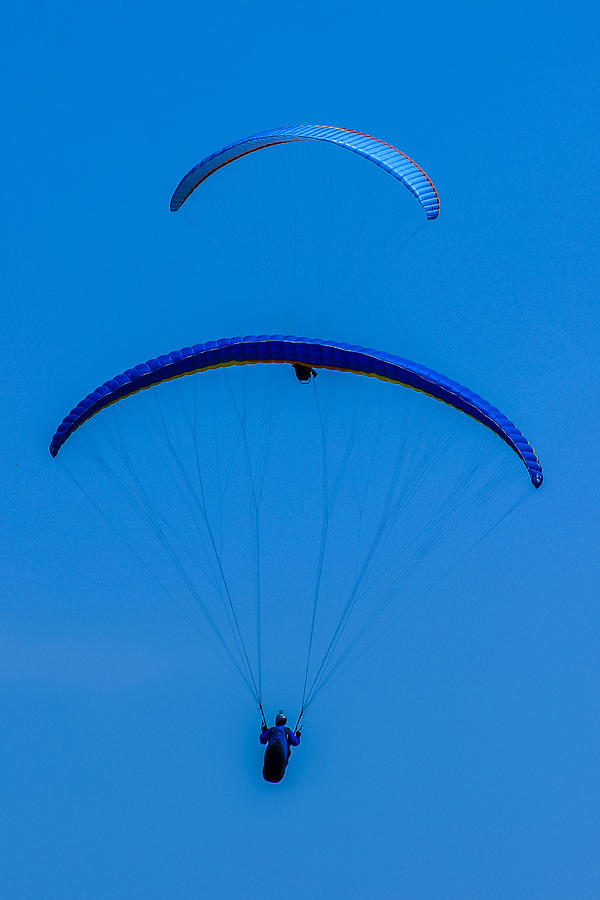Paragliding Photograph - Paragliding In Blue by Fabio Giannini