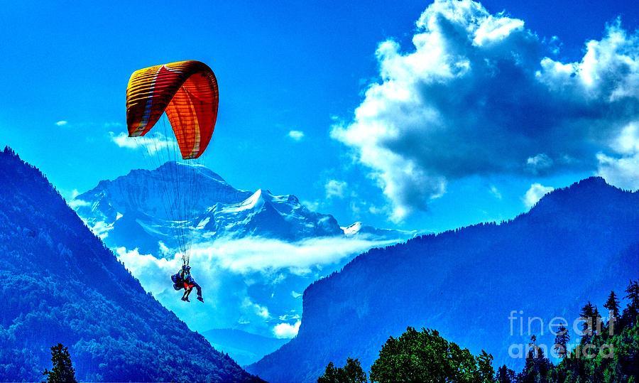 Parasailing Swiss Alps Photograph