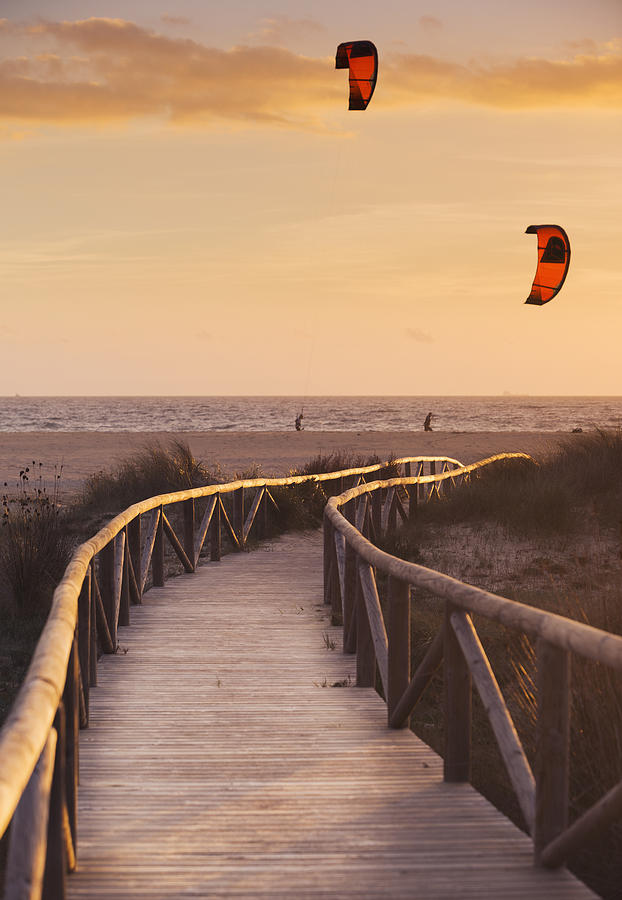 Path Photograph - Parasurfing Tarifa, Costa De La Luz by Ben Welsh