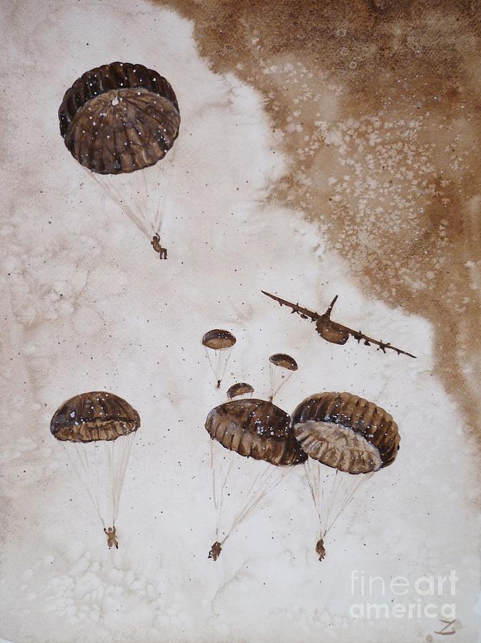 Airborne Painting - Paratroopers by Zaira Dzhaubaeva