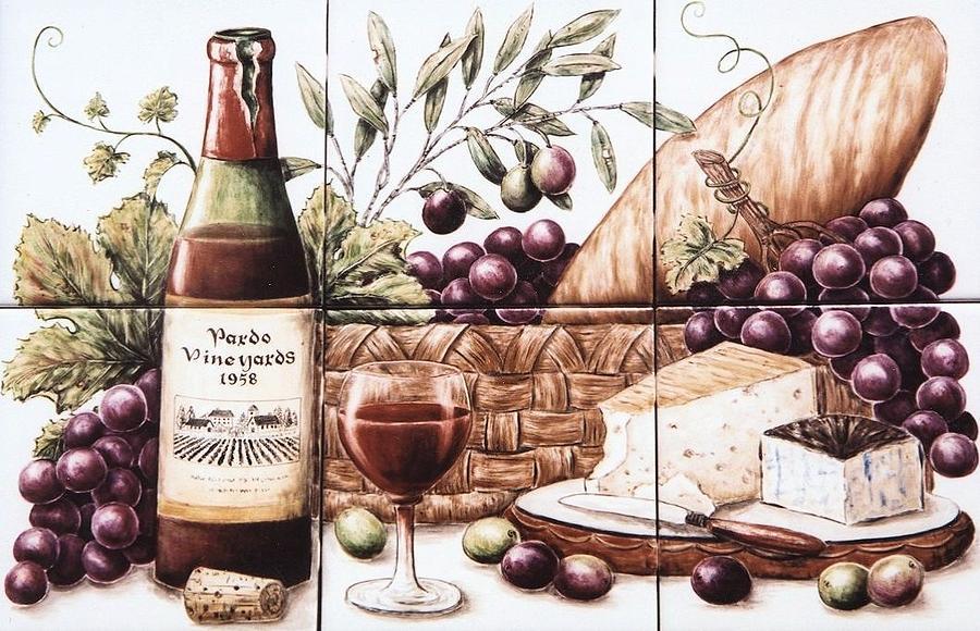 Wine Painting - Pardo Vineyards Wine And Cheese by Julia Sweda