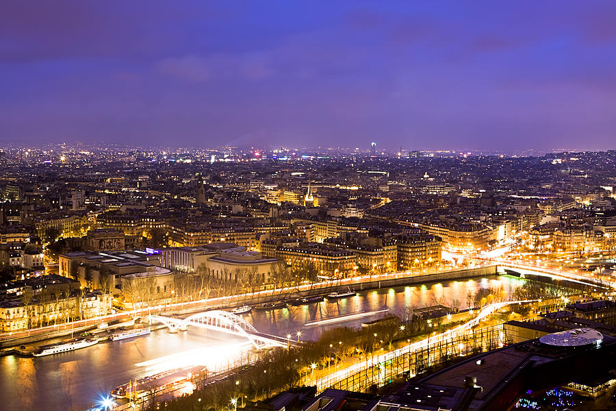 Eiffel Tower View Photograph - Paris and the River Seine Skyline View at Night by Mark Tisdale