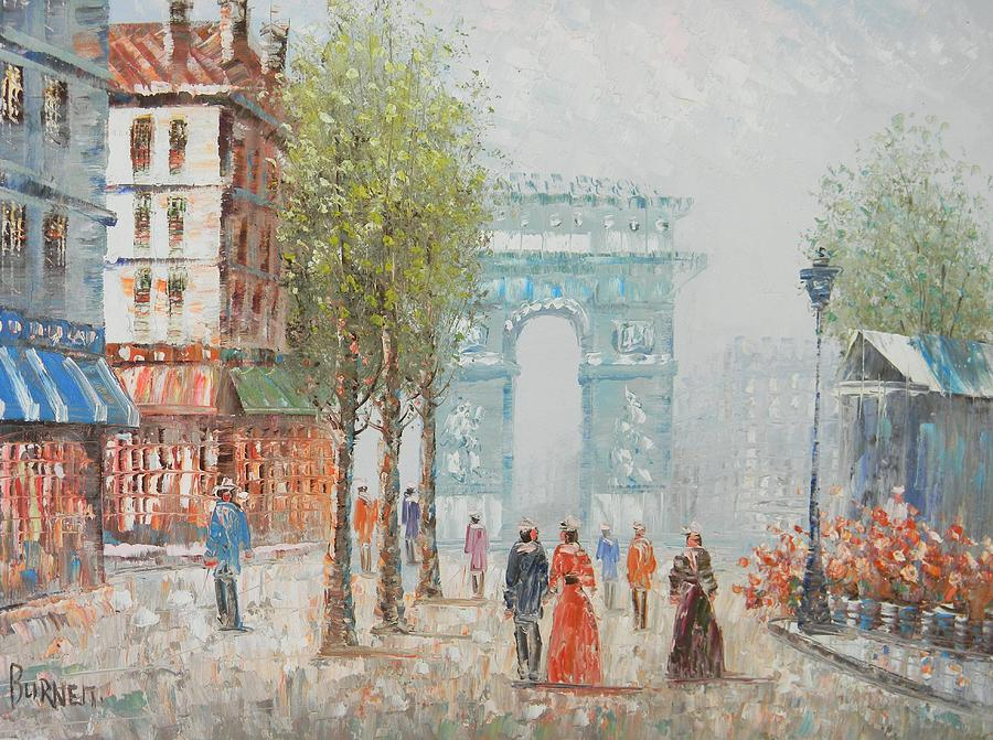 Paris - Arc De Triumph Painting by Caroline C Burnett
