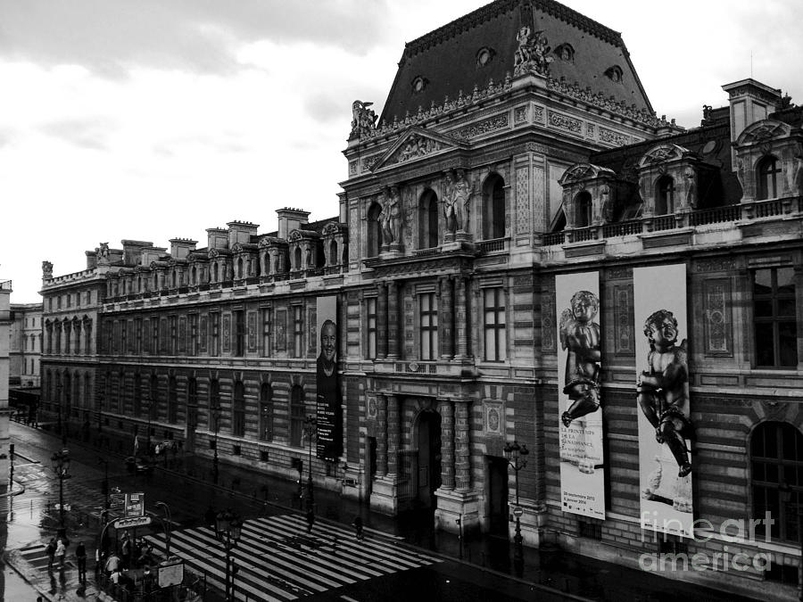 Paris landmarks photograph paris black and white vintage louvre photography paris louvre museum architecture
