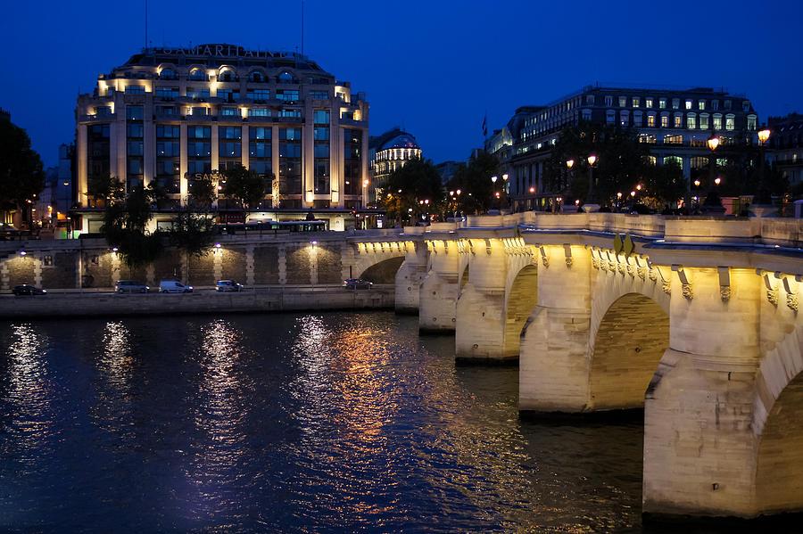 Paris Blue Hour Photograph - Paris Blue Hour - Pont Neuf Bridge And La Samaritaine by Georgia Mizuleva