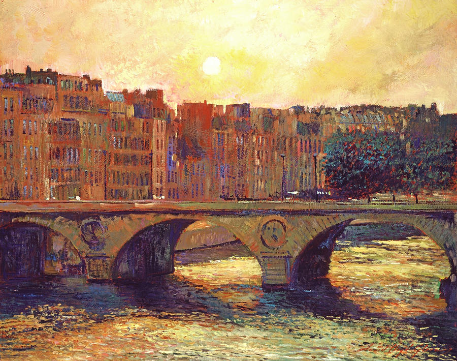 Cityscapes Painting - Paris Bridge Over The Seine by David Lloyd Glover