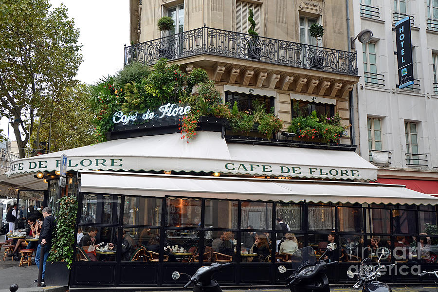 Famous Paris Cafes Photograph - Paris Cafe De Flore - Paris Fine Art Cafe De Flore - Paris Famous Cafes And Street Cafe Scenes by Kathy Fornal