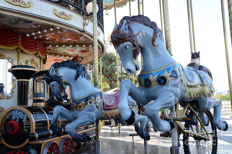Paris Carousel Merry Go Round Horses Paris Blue Carousel