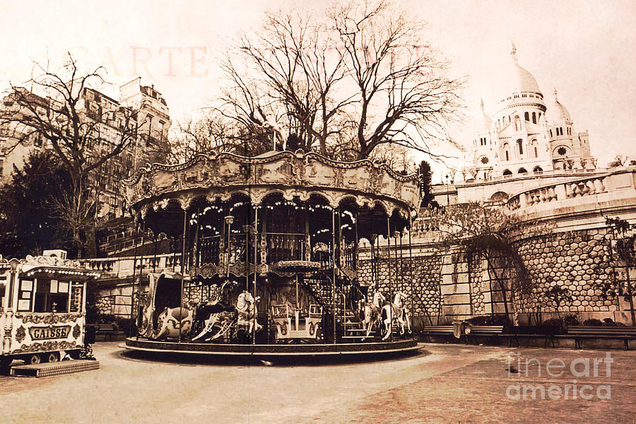 Paris Carousel Merry Go Round Montmartre District Sepia